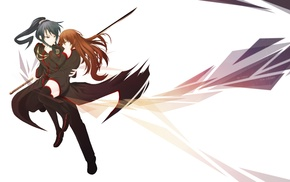 school uniform, original characters, anime, anime girls, sword