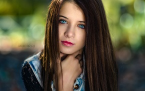 face, Gustavo Terzaghi, straight hair, looking at viewer, girl, depth of field
