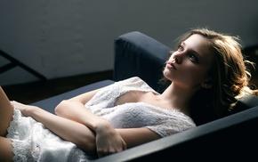 eyes, model, girl indoors, long hair, lying on back, looking away
