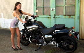 motorcycle, Yamaha, see, through clothing, Yamaha Vmax, dress