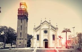 tower, church, city, Brazil