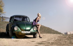 violet dress, high heels, dress, Volkswagen Beetle, black heels, blonde
