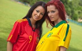 looking at viewer, redhead, sports jerseys, girl outdoors, nature, Kristina Uhrinova