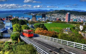 grass, New Zealand, house, architecture, cityscape, train