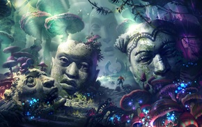 warrior, sculpture, statue, psychedelic, fantasy art, head