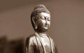 artwork, statue, simple background, Buddha, sepia, Buddhism
