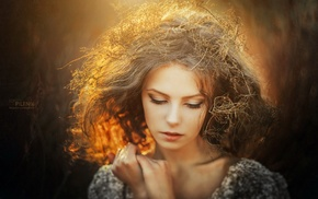 long hair, Sergey Piltnik, depth of field, face, girl, blonde