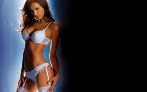 simple background, girl, white lingerie, brunette, Irina Shayk
