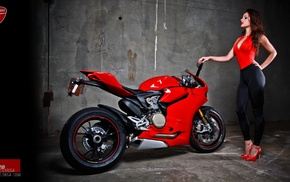 Ducati 1199, hands on hips, girl with bikes, red heels, motorcycle, high heels