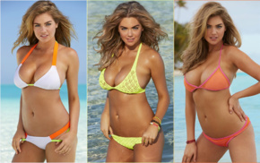 collage, model, Sports Illustrated, looking at viewer, bikini, cleavage