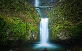 multnomah, falls, Oregon, waterfall, nature
