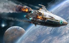 futuristic, science fiction, spaceship, artwork, subnautica