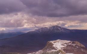 Crimea, nature, snow, mountains, sky, forest