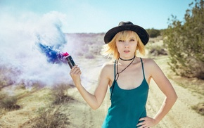 girl, colored smoke, blonde, smoke, looking at viewer