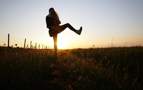 fence, legs up, field, sunlight, girl outdoors, depth of field