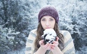 brunette, girl, blue eyes, winter, snow