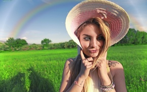 blonde, blue eyes, tattoo, field, rainbows, girl