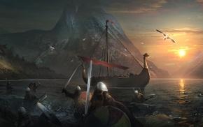 artwork, fantasy art, warrior, Vikings