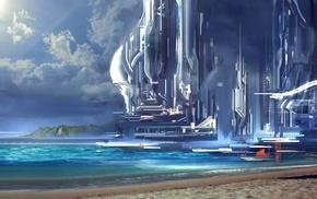 ports, artwork, futuristic, science fiction, building