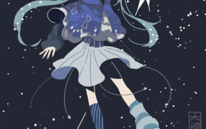 skirt, snow flakes, simple background, winter, long hair, Vocaloid