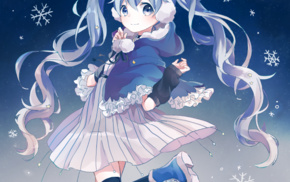 twintails, blue hair, snow flakes, skirt, long hair, anime
