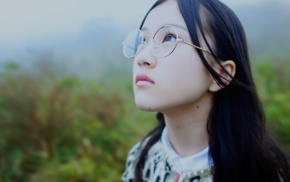 black hair, Nogizaka46, brunette, Asian, girl with glasses, looking up