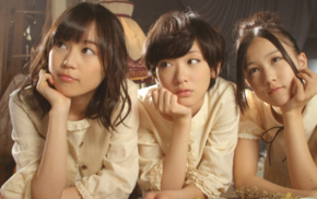 looking away, Asian, group of girl, white dress, black hair, girl