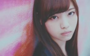 brown eyes, girl, Asian, auburn hair, Nogizaka46, face
