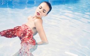 girl, swimming pool, model