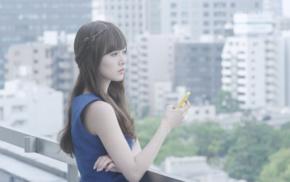long hair, girl outdoors, Asian, brunette, smartphone, standing