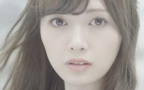 Nogizaka46, brunette, Asian, brown eyes, face, girl