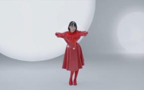 Nogizaka46, brunette, short hair, red dress, girl, gloves