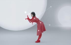 brunette, Nogizaka46, gloves, short hair, red dress, scarf