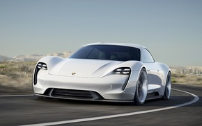 car, Porsche Mission E, white cars