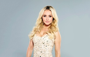 white dress, portrait, simple background, celebrity, Hayden Panettiere, girl