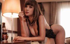 lingerie, girl, lamp, bent over, Asian, alcohol