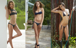 wet body, swimwear, bikini, auburn hair, Sports Illustrated, girl outdoors