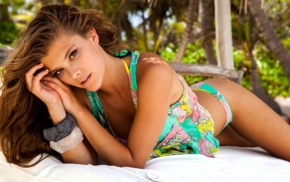 model, lying down, Nina Agdal, swimwear, bikini, girl