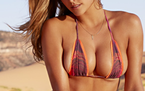 Nina Agdal, looking at viewer, swimwear, portrait display, cleavage, girl