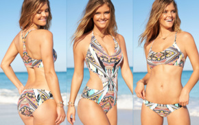 smiling, Nina Agdal, auburn hair, one, piece swimsuit, bikini
