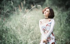 field, nature, girl, girl outdoors, model, Asian