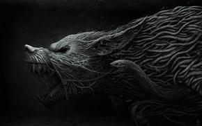 dark, creature, wolf, snake