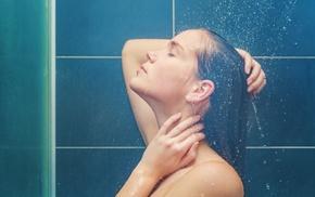 model, girl, bath, shower