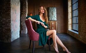 girl, sitting, clocks, chair, model