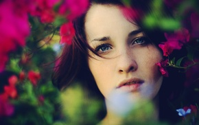 freckles, blue eyes, flowers, girl