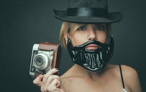 camera, girl, hat, black nails