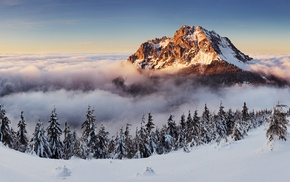 mountains, nature, clouds, landscape, winter, sky