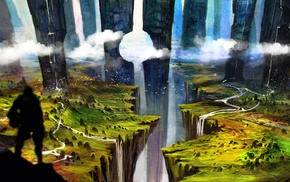 hills, ravine, knight, pillar, water, clouds