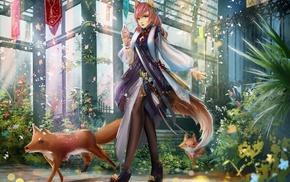 anime, anime girls, original characters, fox girl, fox