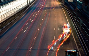 light trails, Freeway, long exposure, police, road, car